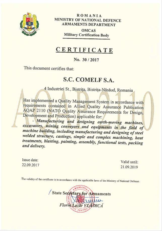 CERTIFICAT AQAP 2110 -COMELF